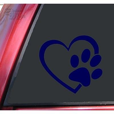 "ShadowMajik Heart and Paw Print Vinyl Decal Sticker (4"" X 3.7"", Dark Blue): Automotive"