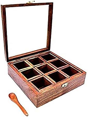 Caja de madera Purpledip, 9 compartimentos con tapa transparente, ideal para especias, joyas o baratijas (11500): Amazon.es: Hogar