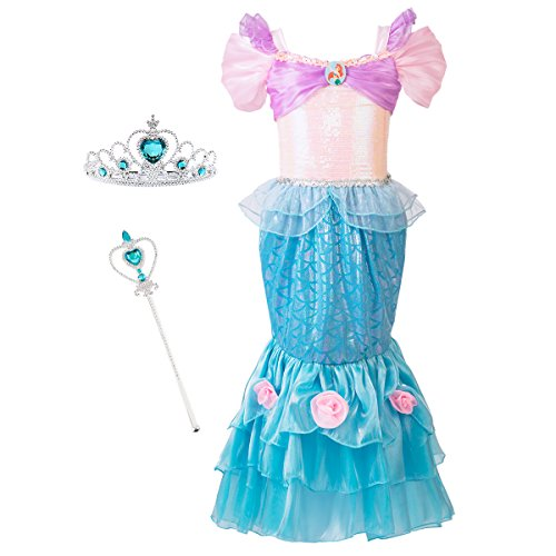 Mermaid Costume Princess Ariel Generic Dress with Crown and Magic Wand for Little Girls Party Fangle (Size 6) (Princess Ariel Tiara)