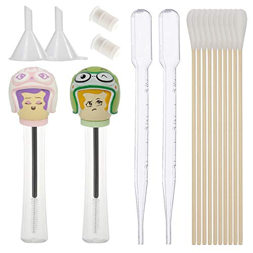 2 PCS Empty Mascara Tube and Wand with Eyelash Brush, Inserts, Funnel, Pipettes, Long Cotton Swabs - Container Kit for Diy Castor Oil Application from butynara