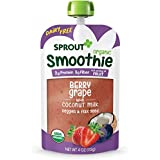 Sprout Organic Toddler Smoothie Pouches, Berry Grape w/ Coconut Milk, 4 Ounce (Pack of 12)