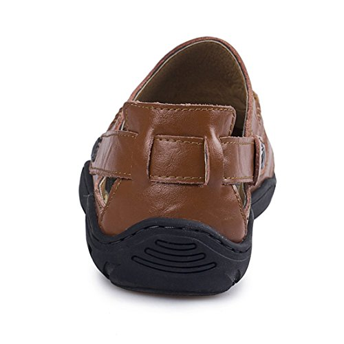 Leather Sports Jiyaru Shoes Athletic Men's Sandals Brown Walking Beach Outdoor 5040Uwq