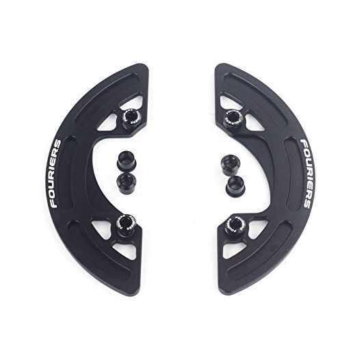 Fouriers CNC Alloy MTB Chain Bash Guide 1/2 Shape Design Chain Guard Protector 30-40T P.C.D 104mm (Black, 34-36T)