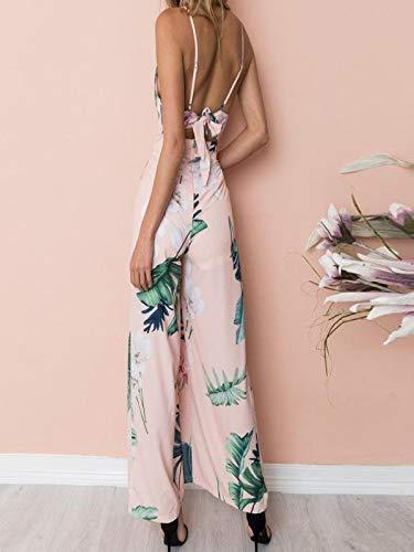 GWshop Ladies Fashion Elegant Jumpsuit Women Jumpsuits Elegant Wide Leg Strappy Holiday Long Playsuits Trousers Pink XL by GWshop (Image #4)