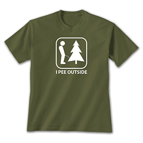 I Pee Outside - Large T-shirt Military Green, Novelty Gift Apparel