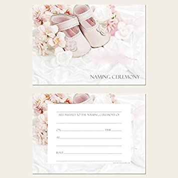 Naming Ceremony Invitations - Girls Pink Shoes - Pack of 10
