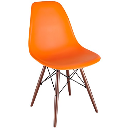 41Yl7lsf37L - Poly and Bark Eames Style Molded Plastic Dowel-Leg Side Chair with Walnut Legs