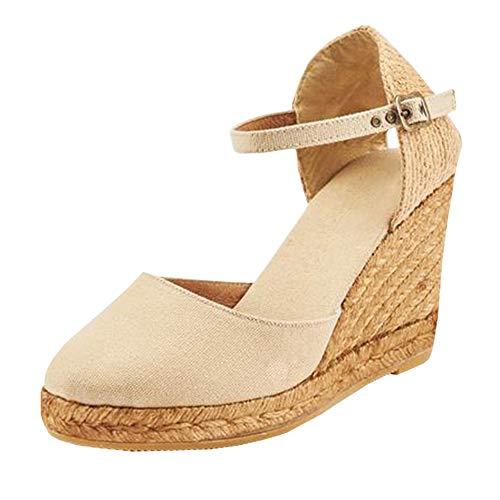 LAICIGO Wedges Sandals for Women - Summer Weaving Espadrille Heel Platform Closed Toe Ankle Strap Sandals