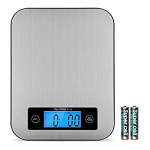 Food Scales Digital Postage Scale Stainless Steel Kitchen Scales Baking Scale for Cooking Multifunction Accuracy with LCD Display and Tare Function Gram Scale 22Ib 10kg (Gray)
