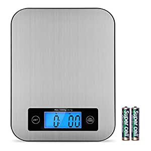 Digital Kitchen Scale, TOBOX Multifunction Stainless Steel Food Scales with LCD Display and Tare Function for Baking and Cooking, 22Ib 10kg