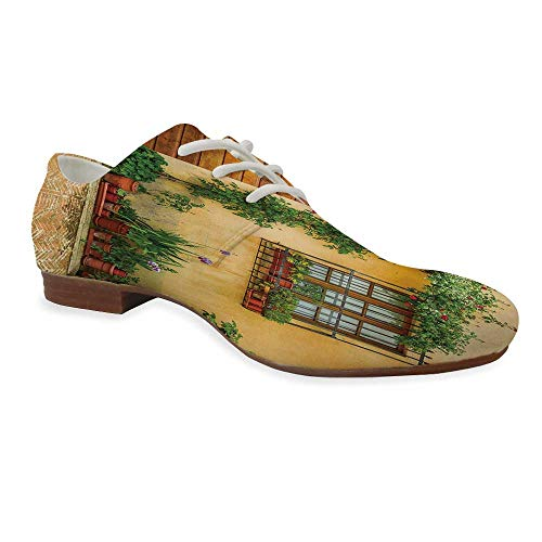Italy Durable Leather Shoes,Porch with Different Flowers Pots Fresh Green Plants City Life in Tuscany Decorative for Women,US 5 (Best Cities To Plant A Church)