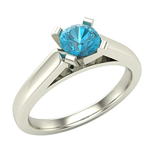 - 1/2 ct tw Blue Diamond Round Cut Diamond Engagement Ring Cathedral Style Solitaire Shank Comfort Fit 14K White Gold