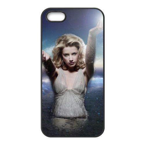 Actress Fashion Amber Heard coque iPhone 5 5S cellulaire cas coque de téléphone cas téléphone cellulaire noir couvercle EOKXLLNCD21343