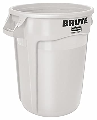 Rubbermaid Mercial S Brute 32 Gal Gray Round Vented Trash Can With Lid