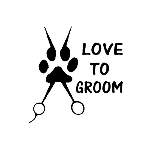 HsgbvictS Car Sticker External Decoration Car Sticker Funny Love to Groom Dog Paw Print Scissors Car Truck SUV Sticker Decal Decor - Black ()
