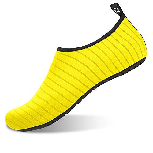 JIASUQI Damen und Herren Sommer Outdoor Wasserschuhe Aqua Socken für Beach Swim Surf Yoga Übung Streifen / Gelb