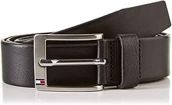 Tommy Hilfiger Men's Flag Buckle Leather Belt, Black, 80