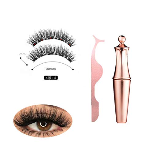 2019 New Magnetic Eyeliner Kit, Magnetic Eyeliner With Magnetic Eyelashes, Ultra-Thin Reusable and Handmade 5 Magnet Eyelashes False Fake Lashes with Eyelash Tweezers [No Glue] (Rose Gold)