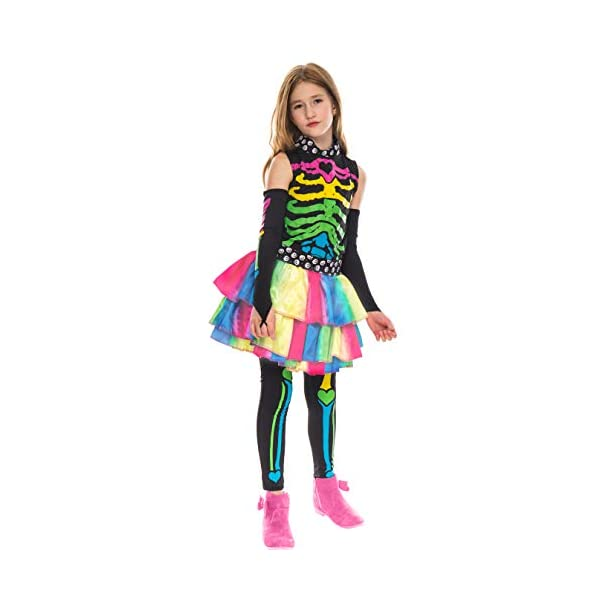 Funky Punky Bones Colorful Skeleton Deluxe Girls Costume Set with Hair Extensions for Halloween Costume Dress Up Parties. 8
