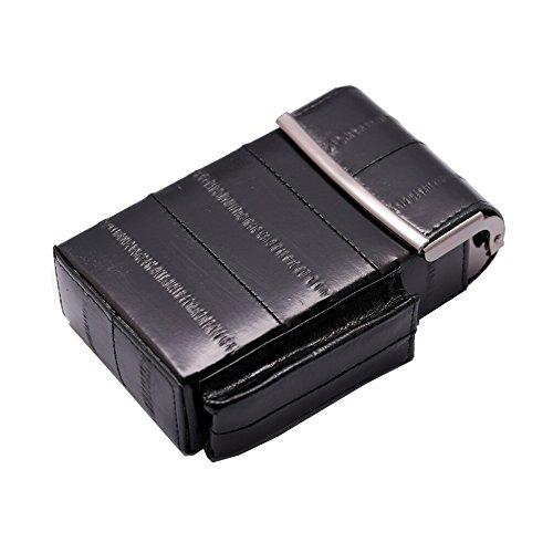 (Automatic Rising Genuine Eel Skin Leather Sliding Cigarette Case with Lighter Holder (Black))