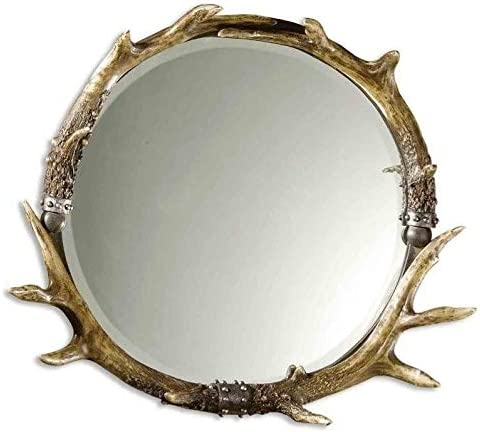 Uttermost Stag Horn Round Mirror in Natural Brown and Ivory