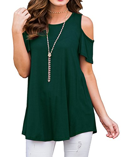 PrinStory Women's Short Sleeve Casual Round Neck Loose Tunic Top Blouse T-Shirt Dark Green-L
