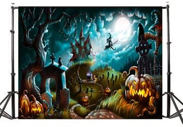 7x5 ft 3D Magic Castle Photography Backdrop Sky Moon Lightning Studio Background Halloween Decoration Birthday Baby Shower Party Supplies Shoot Props Halloween Backdrop #2789