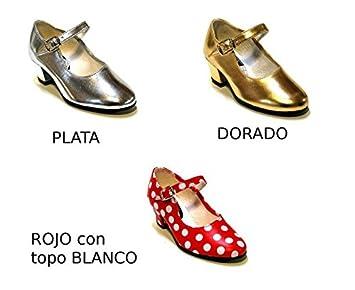 Zapato andaluza plata oro rojo topo blanco - Oro, Talla 38