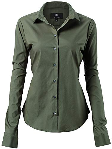 tton Simple Button Down Shirts for Women Army Green Shirts Size 14 ()