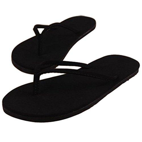 Goodsatar Mujer Verano Flip Flops Zapatos Sandalias Zapatilla Bajo techo, en exteriores Chancletas negro