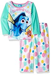 Your favorite little fish is sure to have a bubble time in her dreams with nemo and dory in this cozy fleece pajama set. The fun aquatic colors and realistic graphics are sure to bring some swimmingly goods times to an otherwise boring bedtim...