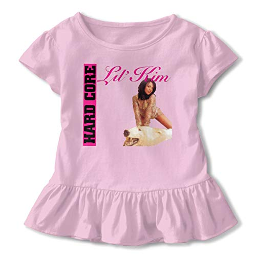 JonathanBehrens Adorable Kids Girls Soft Lil Kim Short Sleeved Ruffled Baby T Shirts Gift 5/6T Pink