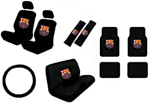 15 piece auto interior gift set football club barcelona 2 front seat covers 2. Black Bedroom Furniture Sets. Home Design Ideas