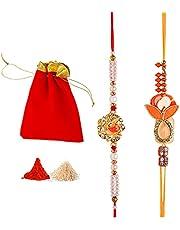 Rakhi set of 2 / Rakhi for Brother/Bhaiya Bhabhi/Kids/Handmade Designer Ganesh Rakhi Thread Bracelet Dori with Roli Chawal Gift Pack in Pouch for Indian Festival Raksha Bandhan