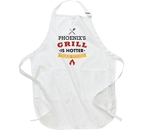 Phoenix Grill Accessories (Phoenix Grill is Hotter Than Yours Funny BBQ Cooking Custom Name Gift Apron L White)