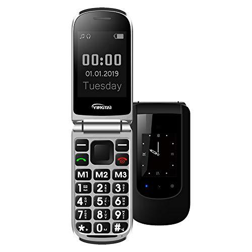 🥇 YINGTAI T09 Teléfono Móvil de Tapa con Teclas Grandes para Mayores con SOS Botones