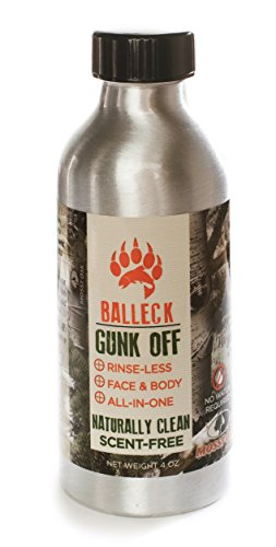 Remover Camo Makeup Off (Balleck Mossy Oak Gunk Off: 3 in 1 Water-less + Rinse-less + Scent-free Hand Wash Body Wash and Face Paint Remover Scent Free 4 oz)
