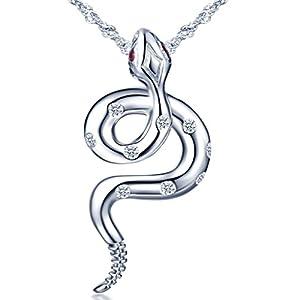 Infinite U Collier femme fille en Argent 925, Pendentif Serpent orné zircon cubique, avec la Chaîne, unique, Cadeau…