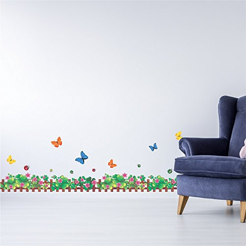 Amazon Brand – Solimo Wall Sticker for Home (Tiny Fence with Butterflies, Ideal Size on Wall, 180 cm X 50 cm)