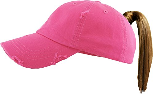 - H-216-S24 Distressed Trucker Dad Hat Messy Bun Ponytail Baseball Pony Cap - Pink