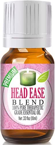 Head Ease Blend 100% Pure, Best Therapeutic Grade Essential Oil - 10ml - Comparable to DoTerra's PastTense & Young Living's M-Grain Blend - French Lavender, Peppermint, Wintergreen, Basil, Frankincense, Rosemary, Sweet Marjoram, Sweet Orange