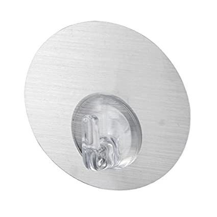 eDealMax plástico Inicio Baño tapa de pared de toallas Percha auto adhesivo gancho de plata del