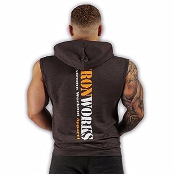 Para hombre sin mangas entrenamiento deportivo culturismo Fitness Top de gimnasio sudadera con capucha en varios colores y tamaños, gris oscuro, ...