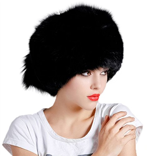 MEEFUR Women's Genuine Whole Hide Fox Fur Hats Black Onesize by MEEFUR