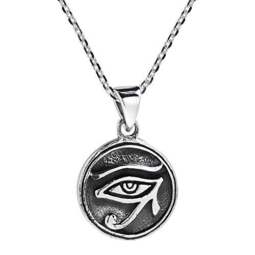AeraVida Circle Eye of Horus Egyptian Symbol .925 Sterling Silver Pendant Necklace (Pendant Eye Circle)