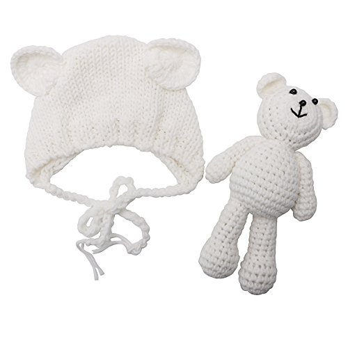 Tangc Newborn Baby Girl Boy Photography Prop Photo Crochet Knit Costume Bear +Hat Set (White)