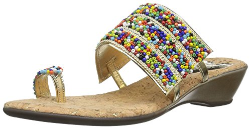 Love & Liberty Women's Sammy-ll Toe Ring Sandal, Gold, 8 M US