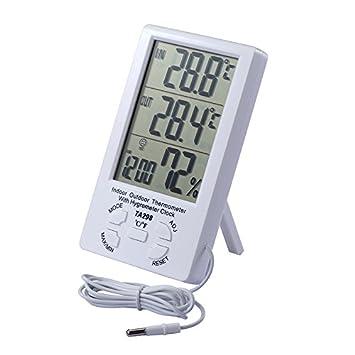 JZK Termómetro higrómetro LCD digital cable sensor 1.5 m Interior higrómetro exterior termómetro humedad medidor temperatura