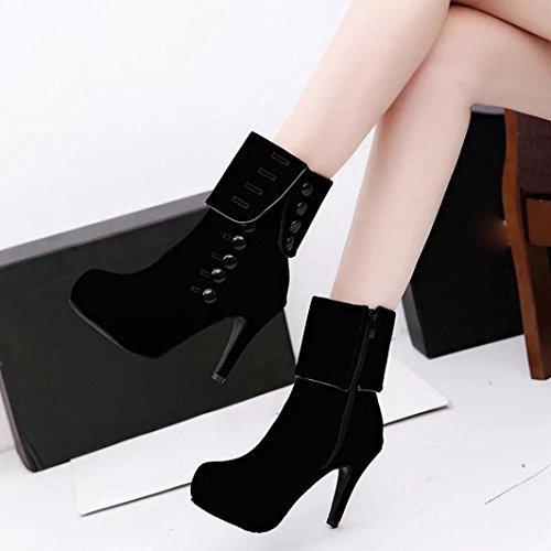Plate Chaussures De Boucle D'hiver Bottes Talons Bottines Courtes Femme forme Rouges Hauts Noir Amlaiworld FvqY6wB