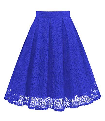 Royal Blue Skirt - Girstunm Women High Waist Pleated A-Line Knee Length Lace Pockets Skirt Royal Blue XL